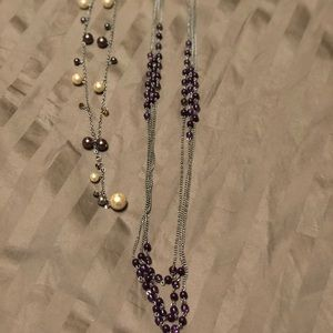 Set of two necklaces. Silver, purple, gold accent